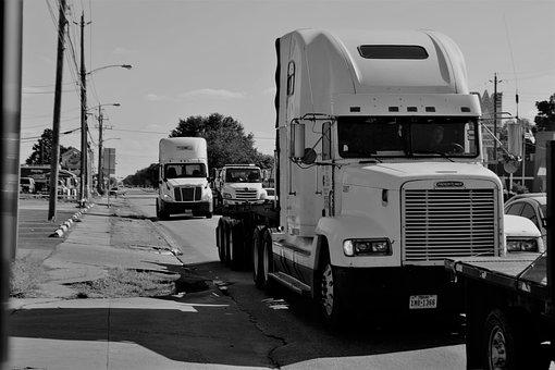 Trailer Truck, Engine, Grill, Trailer, Transport