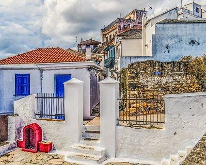 Greece, Skopelos, Chora, Village, Houses, Architecture