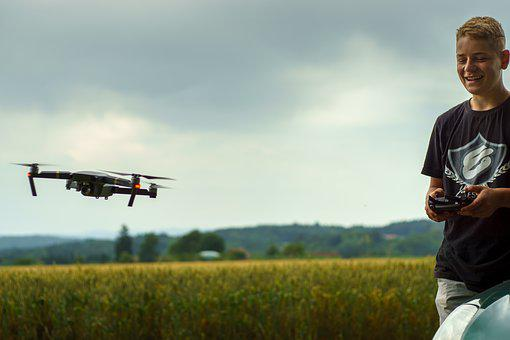 Drone, Field, Happy, Happiness, Fun, Fly, Remote, Sky