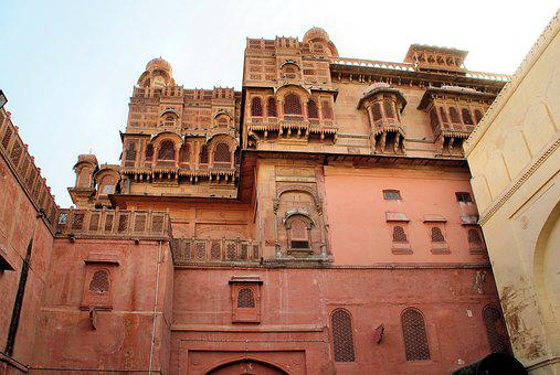 India, Rajastan, Bikaner, Junagarh, Fort, Red Sandstone