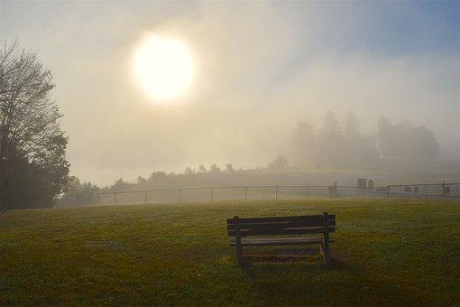 Sunrise, Fog, Field, Bench, Park, Misty, Nature