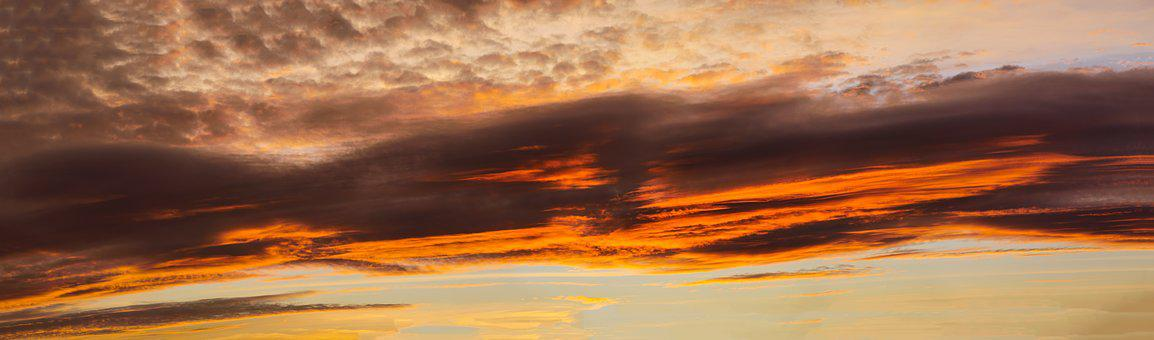 Panorama, Morgenrot, Sunrise, Sky, Clouds, Red