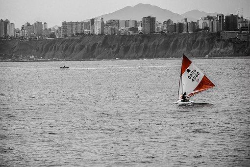 Peru, Windsurf, Ocean, Red, Windsurfing, Water