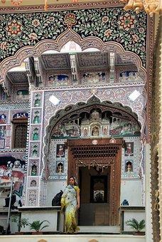 India, Rajastan, Shekawati, Mandawa, Palace, Fresco