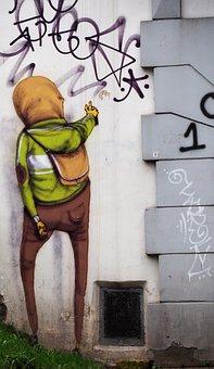 Vilnius, Lithuania, Graffitti, Houses Facades