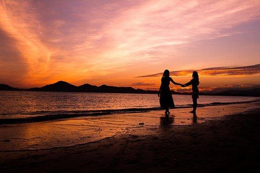 Glow, Woman, Women's, Silhouette, Sea, The Night Sea