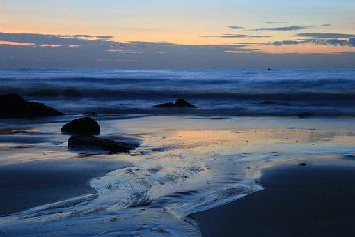 Long Exposure, Ocean, Coast, Beach, Dusk, Evening Sun