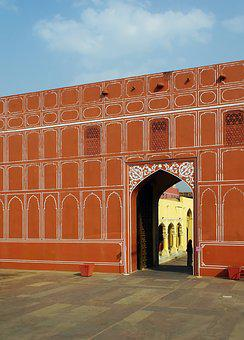 India, Jaipur, Porch, Palace, Maharajah, Facade, Wall