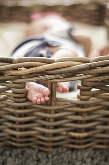 Baby, Baby Toes, Basket, Child, Small, Newborn, Cute