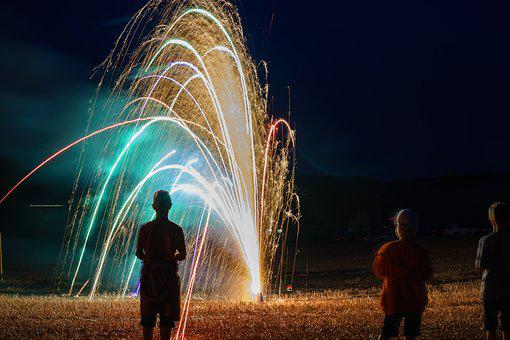 Fireworks, Community, Kids, People, Celebration, Sparks