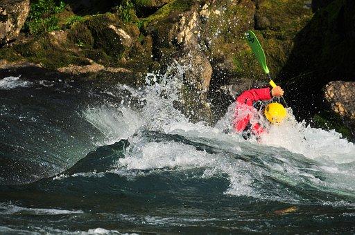 River, Kayak, Wave, Torrent