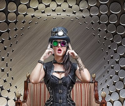 Steampunk, Beautiful Girl, Model, Cosplay, Felt Hat