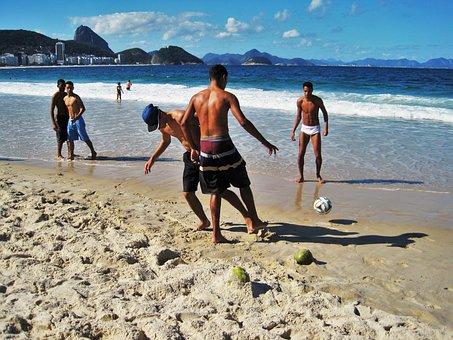 Brazilian, Football, Copacabana, Rio, At The Copacabana