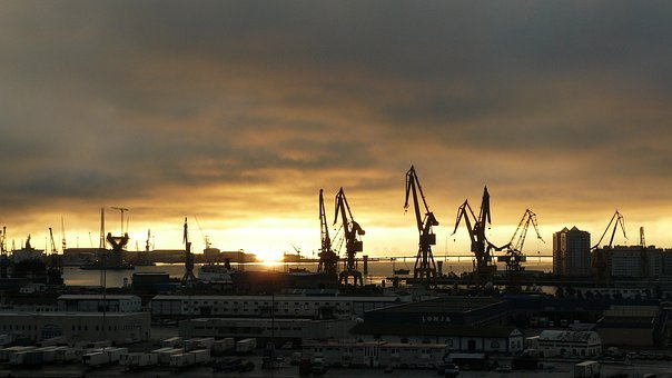 Port, Coast, Architecture, Boats, Crane, Cranes
