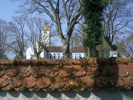 Wall, Cemetery Wall, Cemetery Church, Cross