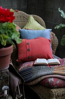 Chair, Pillows, Bible, Open Book, Devotions, Worship