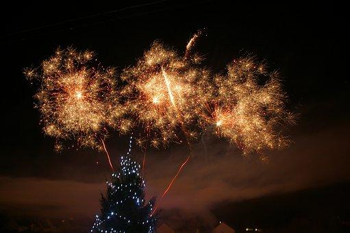 Fireworks, Night, Fir, Christmas, Christmas Decoration