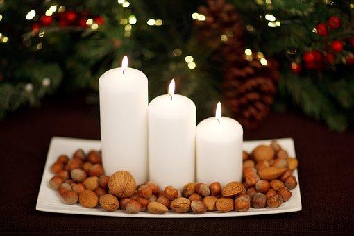 Advent, Almond, Candle, Christmas, Decoration, Festive