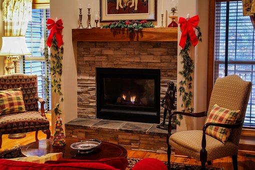Fireplace, Mantel, Living Room, Cozy, Christmas, Xmas