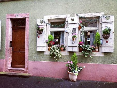 Heidelberg, Door, Window, Sweet, Cheesy, Pink, Colorful