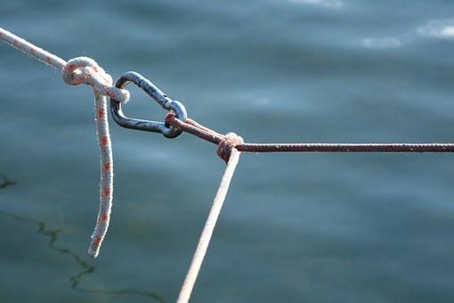 Carbine, Knot, Connection, Dew, Rope, Fixing, Strand
