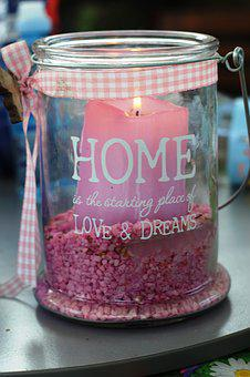Deco, Home, Garden, Candle, Pink, Glass, Sand, Loop