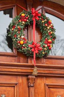 Garland, Christmas, Door, Decoration, Decorated Door