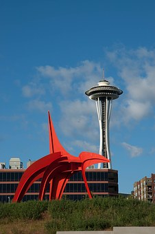 Eagle, Red Sculpture, Space Needle, Seattle