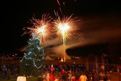Fireworks, Night, Festival, Christmas, Fir Branch, Star