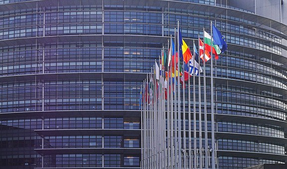 European Parliament, Strasbourg, Flags, Flag Forest, Eu