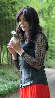Snow White, Forest, Flower, Corset, Trees