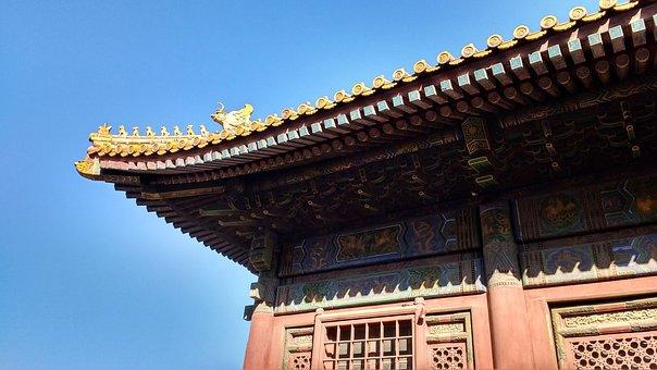China, Roof, Figures, Pagoda, Forbidden City