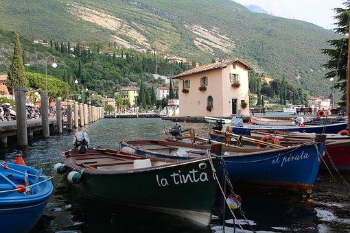 Port, Boats, Dock, Boats In The Harbor, Torbole, Italy