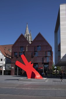 Sculpture, Keith Haring, Dog, Red Dog, Artwork, Ulm