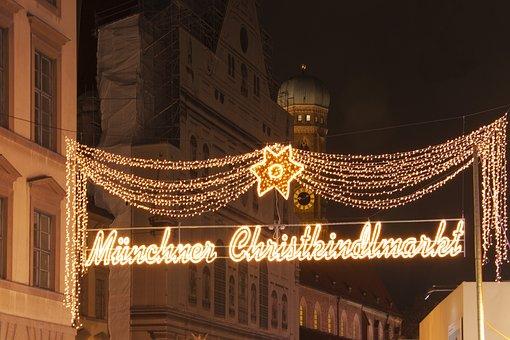 Munich, Christmas Market, Spire, Frauenkirche, Lights