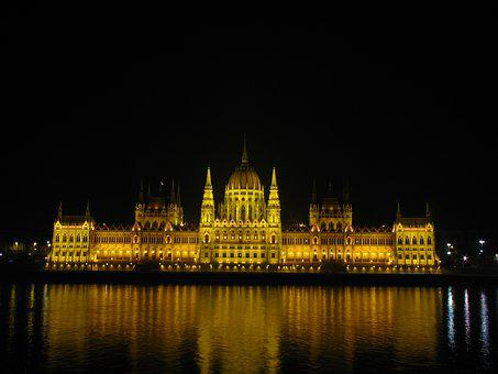 Budapest, Hungary, Parliament, At Night, Building