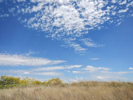 Sky, Clouds, Field, Blue, Sun, Landscape, Mountains