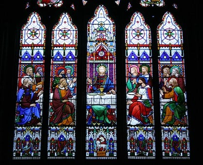 Last Supper, Stained Glass Window, St Michael's Church