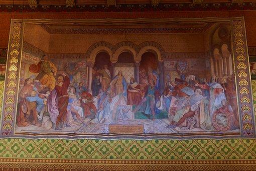 Wartburg Castle, Painting, Artwork, Mural, Minstrel