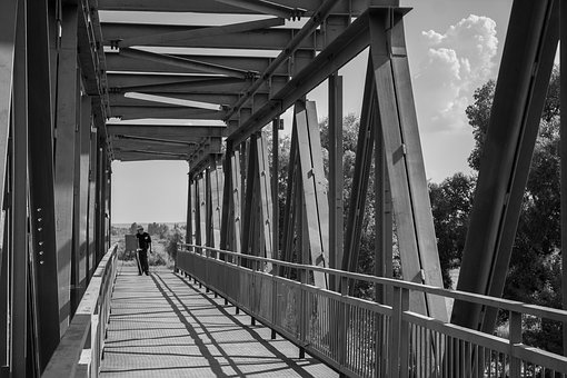 Bridge, Artist, Sky, Clouds, Black And White