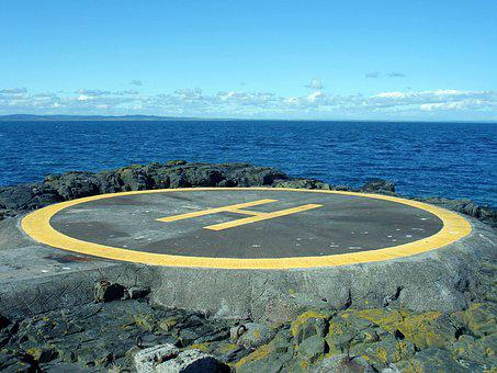 Helicopter Pad, Landing, Sea, Rock, Blue, Pad, Helipad