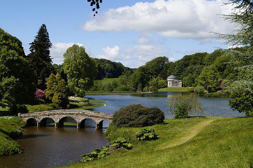 Bridge, Park, Landscape, Water, Trees, Green, Blue