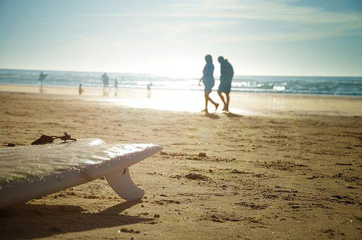 Usa, California, San Diego, La Jolla, Surfboard, Sunset