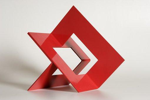Sculpture, Metal, Red, Geometric, Geometric Shapes
