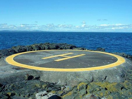 Helicopter Pad, Landing, Sea, Rock, Blue, Pad, Helipad