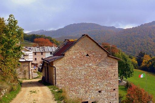 Borgo, Road, Trail, House, Stone, Sassi, Mountain, Flag