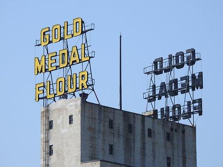 Sign, Gold, Medal, Flour, Historic, Landmark