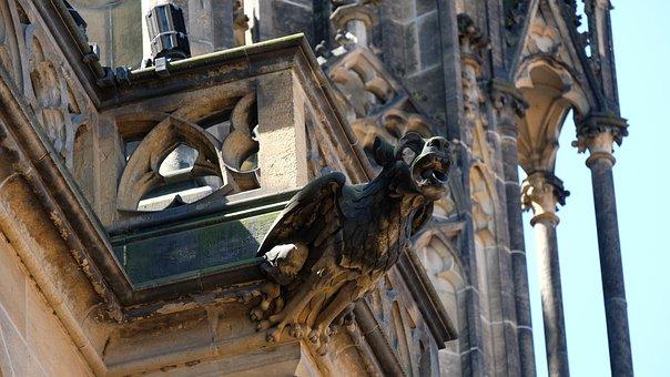 St Vitus Cathedral, Gargola, Gargoyle, Prague, Praha
