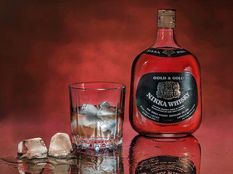 Whiskey, Ice, Glass, Bottle, Red Background