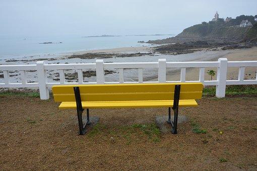 Bench, Panoramic, Bench Yellow Public, Sea View, Sea
